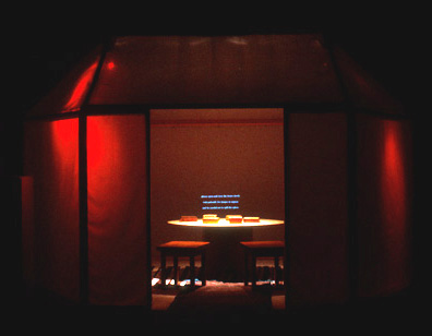Morocco Memory II, Interactive Architectural Installation by Vibeke Sorensen at Interactive Frictions, University of Southern California, 1999. A multimodal immersive installation engaging all of the senses including touch and aroma, this work allows the audience to navigate and connect texts, photographs, movies, music, sound and light to navigate culture memory and provide an individual and collective experience.
