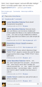 Figura 3. Conversation in Latin plus translation between Lucius and his facebook's friends