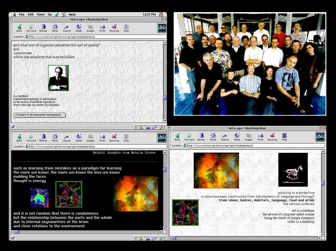 Figure 1. Three still frames from Mindshipmind, a never ending multimedia text on art and science, running in the Netscape browser in 1997. Upper right, portrait of the Mindship participants in Copenhagen, Denmark in August of 1996. Tor Nørretranders is seated in the front, middle. Vibeke Sørensen is seated next to him (front row, second from right).