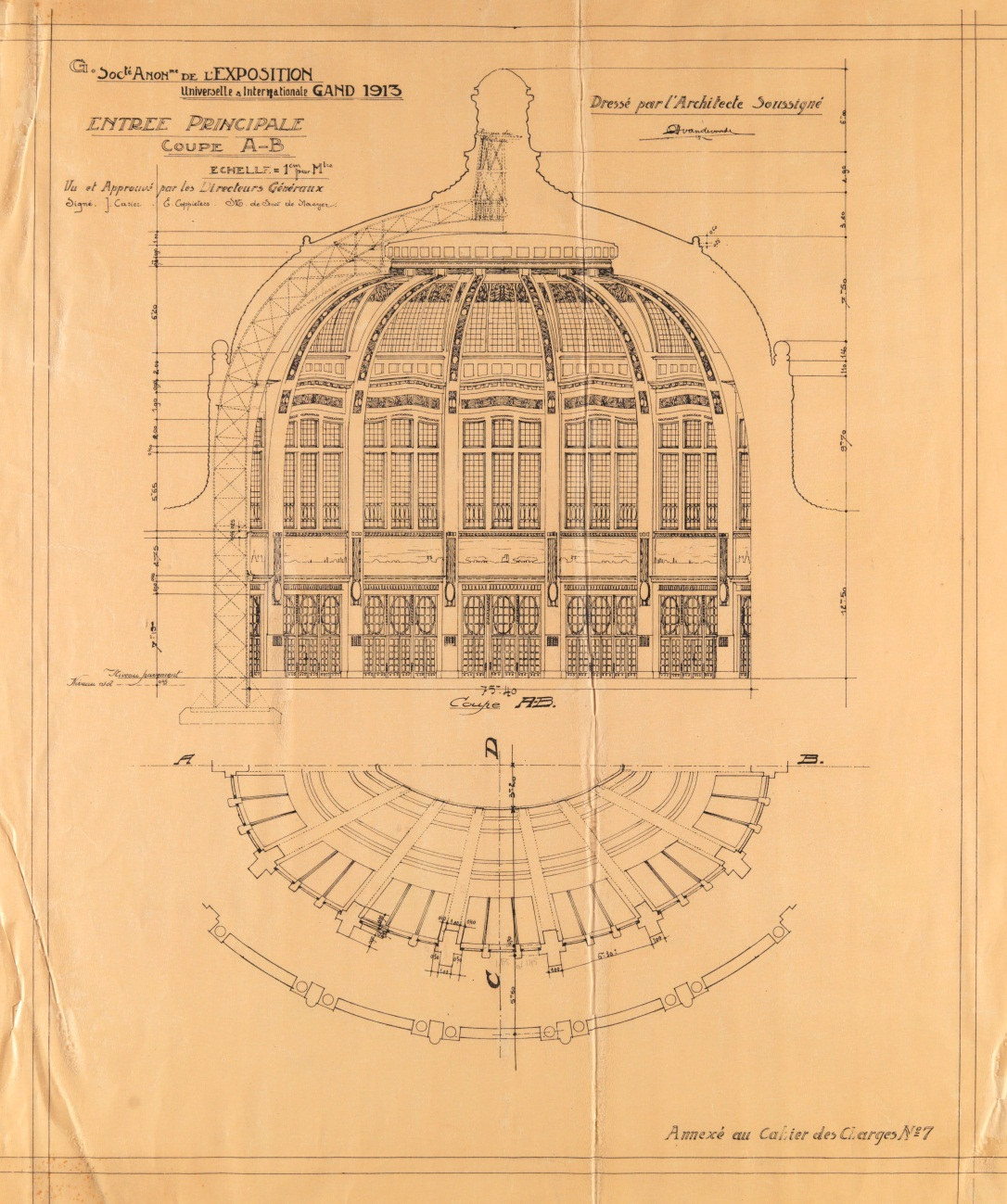 Building plan of the dome of Ghent University Library