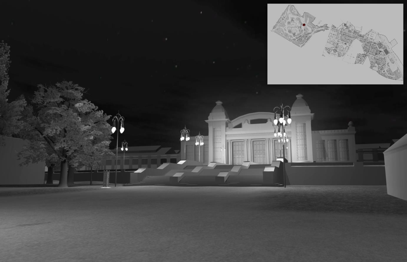 Festival and Floral Hall lit by street lamps Mindscape3D
