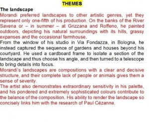 "FIG 4. GiorgioMorandiMultimedia, text from the MM ""Thematic"" item ""The Landscape"""